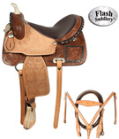 Brown Rough Out Barrel Racing Ostrich Seat Saddle 15 [3030A] (Out Of Stock)