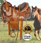 Brown Rough Out Barrel Racing Ostrich Seat Saddle 14 [3030B] (Out Of Stock)