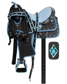 Blue Ostrich Synthetic Western Saddle Tack Set 14 [3105] (Out Of Stock)
