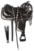 Black Texas Star Horse Show Saddle Tack Set 16 17 [3122]