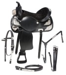 Black Leather Affordable Show Saddles Tack 18 [3166]