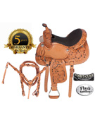 Hand Carved Leather Barrel Racing Saddle On Sale 15 16 [4252] (Out Of Stock)