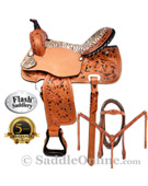 Zebra Western Horse Barrel Racing Saddle 15 16 by Flash [4286A] (Out Of Stock)