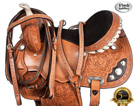 Crystal Tooled Western Barrel Racing Horse Saddle 15 16 [4287]