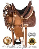 Crystal Carved Brown Barrel Racing Horse Saddle 15 16 [4288] (Out Of Stock)