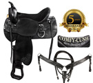 Suede Seat Black Western Leather Endurance Saddle 17 18 [5938S]