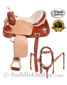 Crystal Cross Leather Barrel Racing Saddle Bling 16 [5941A] (Out Of Stock)