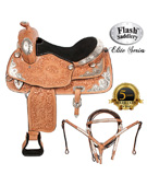 Western Hand Carved Leather Silver Show Horse Saddle 18 [5961]