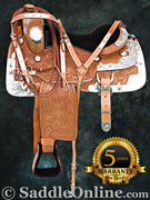 Hand Carved Western Leather Silver Show Horse Saddle 17 [6005] (Out Of Stock)