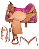 Pink Zebra Barrel Racing Western Horse Saddle Package 16 [6073]