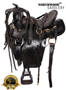 Black Gaited Horse Western Leather Saddle 17 [6096G]