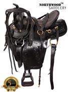 Black Gaited Horse Western Leather Saddle 17[6096G]