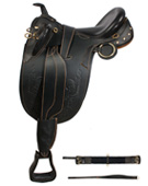 Black Australian Saddle Horn Stirrups Over Girth 17 19 [8016] (Out Of Stock)