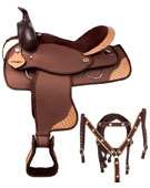 Deluxe Synthetic Saddle With Alligator Print Pad Tack 16 18 [8028]