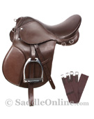 New Brown All Purpose AP English Riding Saddle 16 18 [8041NB]