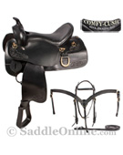 Premium Black Leather Gaited Endurance Saddle 15 17 [8056]