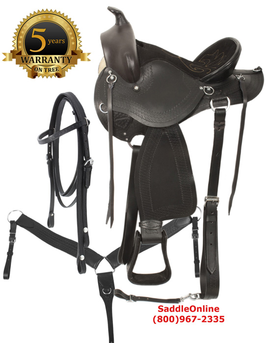 Black Western Leather Mule Saddle Mule Tack 15 18[8070]