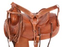 Ranch Work Roping Style Leather Horse Saddle 16 17 [8134]