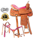 True Cowgirl Pink Barrel Racing Western Saddle By Flash [8155]