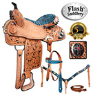 Turquoise Zebra Cross Barrel Racing Western Horse Saddle [8156] (Out Of Stock)