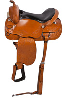 New Leather Comfortable Pleasure Trail Horse Saddle 16 18