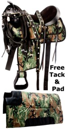 Green Camo Lightweight Western Synthetic Tack Saddle 15 18