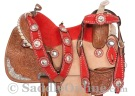 Premium Red Blue Hand Carved Western Barrel Horse Saddle [8208] (Out Of Stock)