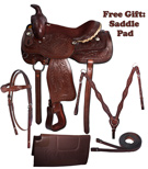 Brown Leather Western Pleasure Trail Saddle Package 16 17[8250]