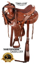 Comfortable Silver Western Barrel Horse Show Saddle 16 17 [8270]
