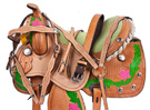 Pink Green Desert Rose Barrel Saddle Hand Painted 15 16 [8303]