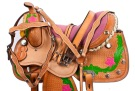 Pink Green Desert Rose Barrel Saddle Hand Painted 16 [8304] (Out Of Stock)