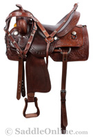 Dark Brown Ranch Work Western Trail Horse Saddle 17 [8310]