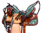 Turquoise Blue Zebra Western Barrel Racing Horse Saddle 14 [8391S] (Out Of Stock)