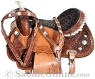 Crystal Hand Tooled Western Leather Horse Barrel Saddle [8393] (Out Of Stock)