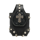 American West Black Leather Cell Phone Case - Rock Star [9220499]