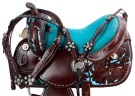 Dark Oil Turquoise Barrel Horse Western Saddle Tack 14 16 [9452]