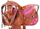 Pink Inlay Barrel Racing Western Horse Saddle Tack 14 16 [9453]