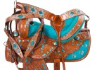 Turquoise Inlay Barrel Racing Western Horse Saddle 14 16 [9454] (Out Of Stock)