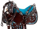 Turquoise Blue Brown Barrel Horse Western Saddle Tack 14 16 [9455]