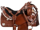 Crystal Tooled Western Barrel Racer Horse Saddle Tack 16 [9457]