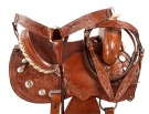Hand Carved Barrel Racing Western Horse Saddle Tack 15 16 [9458]