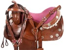 Pink Crystal Barrel Racing Western Horse Saddle Tack 16 [9460]