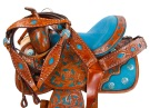 14 16 Turquoise Barrel Racing Western Horse Saddle Tack [9469]