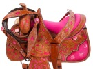 Pink Inlay Barrel Racer Western Horse Saddle 15 16 [9470]