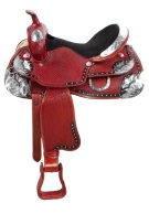 Basket Weave Mahogany Silver Horse Show Saddle 15 [9477] (Out Of Stock)