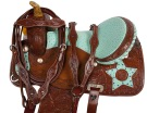 Turquoise Star Barrel Racing Western Horse Saddle 16[9494]