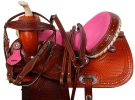 Pink Crystal Barrel Racing Western Horse Saddle 15 16 [9496]