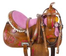 Pink Inlay Crystal Barrel Racing Western Horse Saddle 14 17[9501]