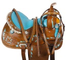 Blue Crystal Barrel Racing Western Trail Horse Saddle 14 15 [9502] (Out Of Stock)