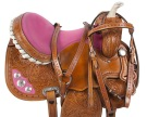 Pink Crystal Tooled Western Barrel Racer Horse Saddle 16 [9506] (Out Of Stock)